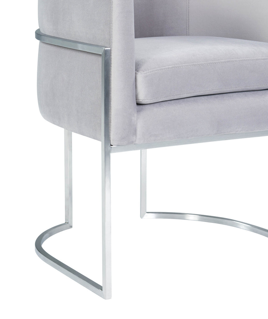 Giselle Grey Velvet Dining Chair with Silver Leg