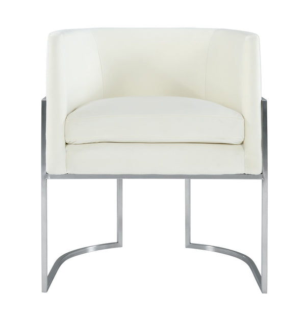 Giselle Cream Velvet Dining Chair Silver Leg
