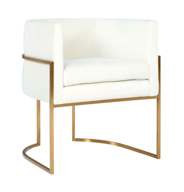 Giselle Cream Velvet Dining Chair Gold Leg