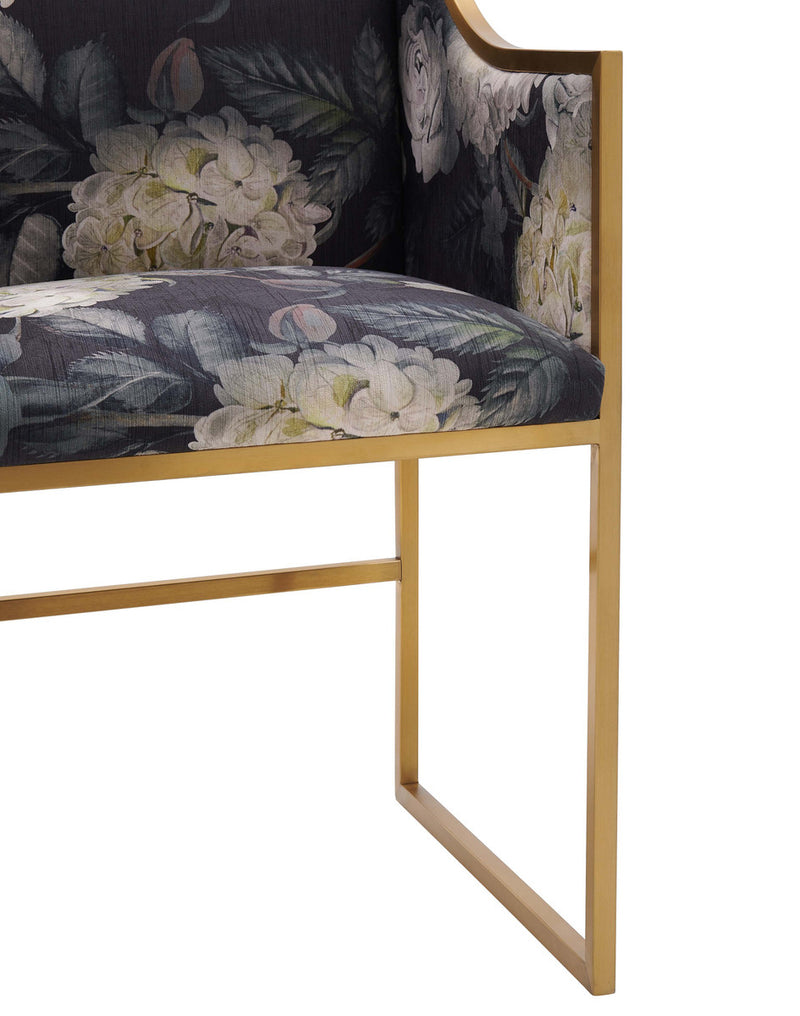 Atara Floral Velvet Gold Accent Chair