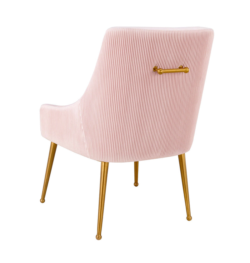 Beatrix Pleated Blush Velvet Side Chair