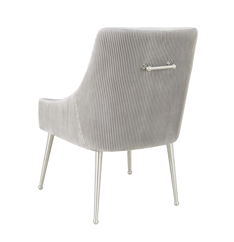 Beatrix Pleated Grey Velvet Side Chair - Silver Legs