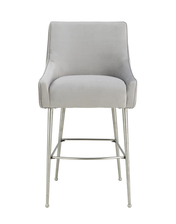 Beatrix Pleated Grey Velvet Counter Stool