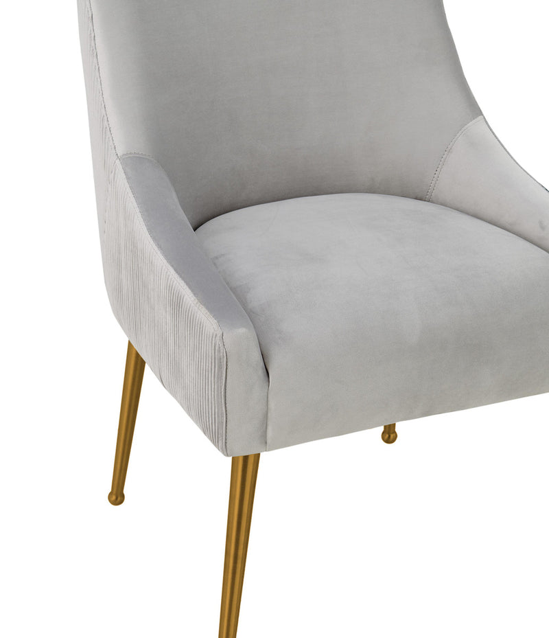 Beatrix Pleated Light Grey Velvet Side Chair