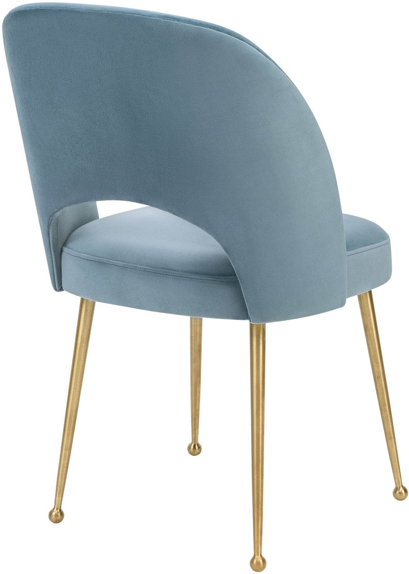 Swell Sea Blue Velvet Dining Chair
