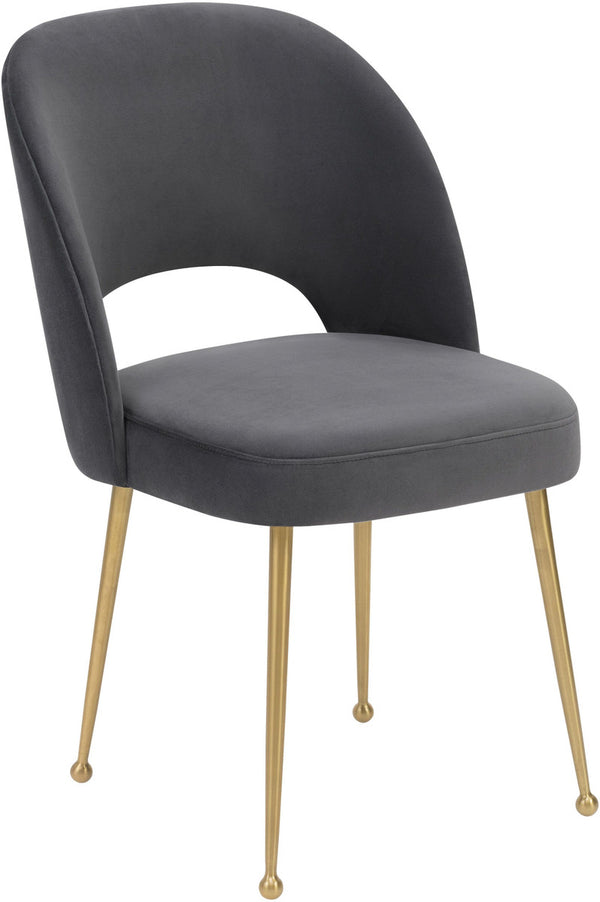 Swell Dark Grey Velvet Dining Chair