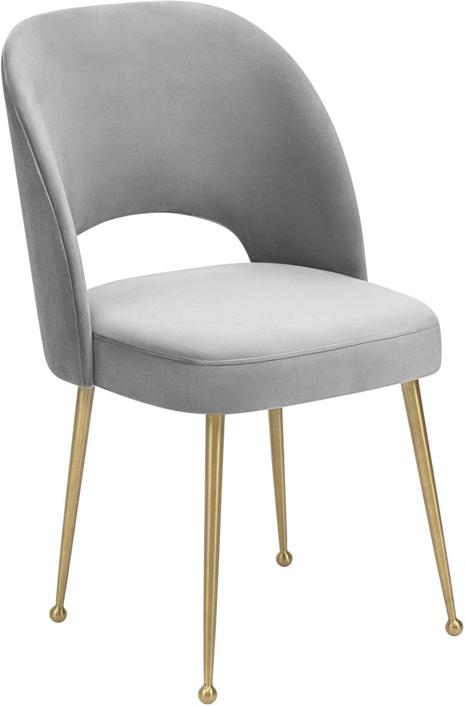 Swell Light Grey Velvet Dining Chair
