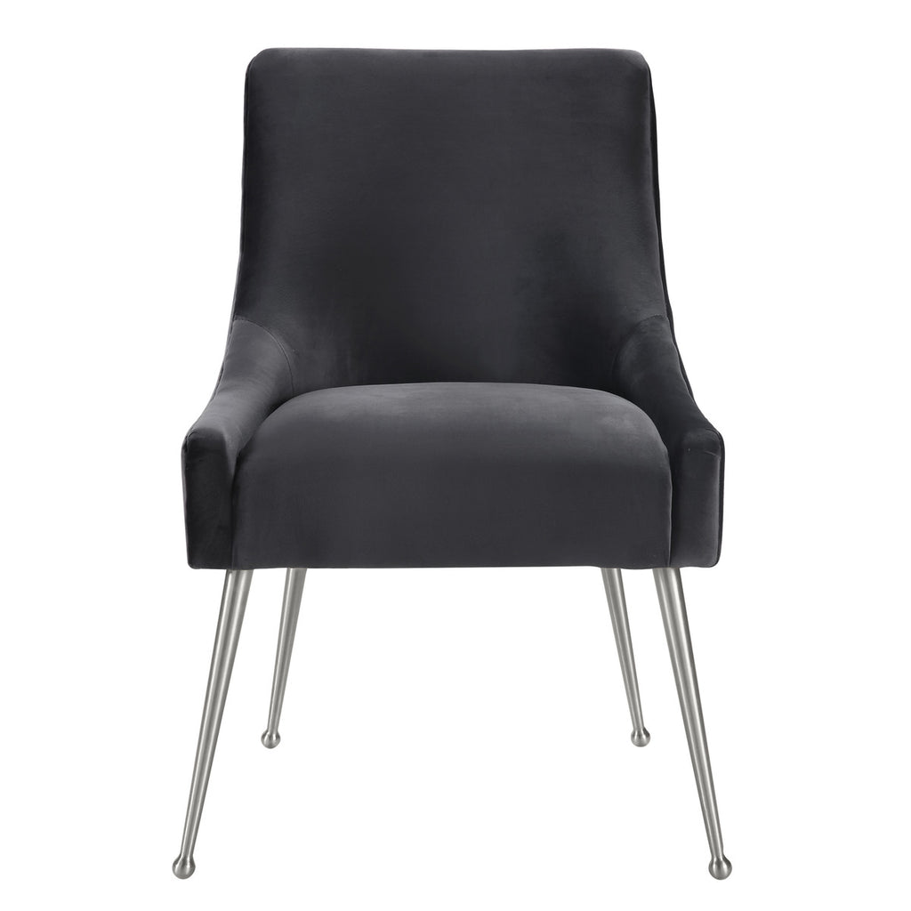 Beatrix Grey Velvet Side Chair - Silver Legs