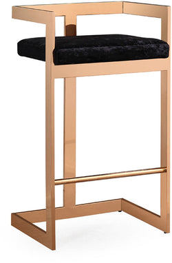 Marquee Black Velvet Bar Stool