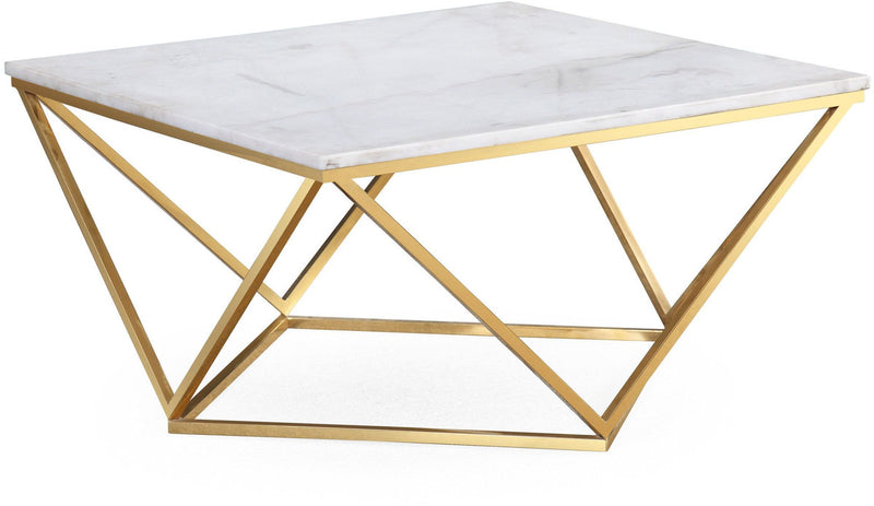Leopold White Marble Cocktail Coffee Table