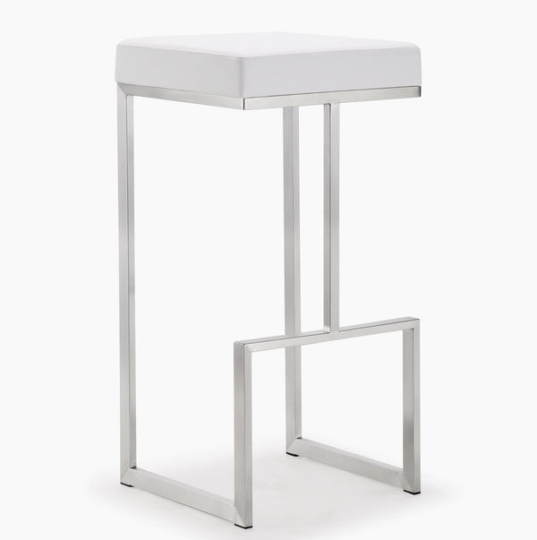 Ferrara White Stainless Steel Barstool - Set of 2