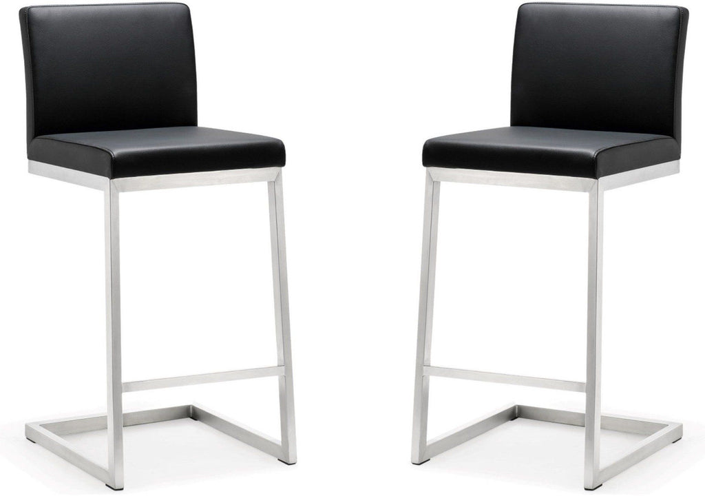 Black Parma Stainless Steel Counter Stool, Set of 2