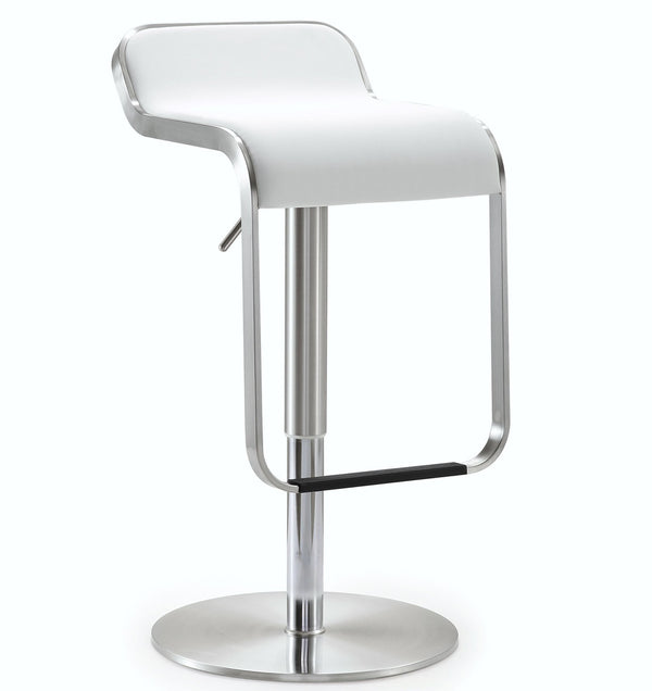 Napoli White Steel Adjustable Barstool