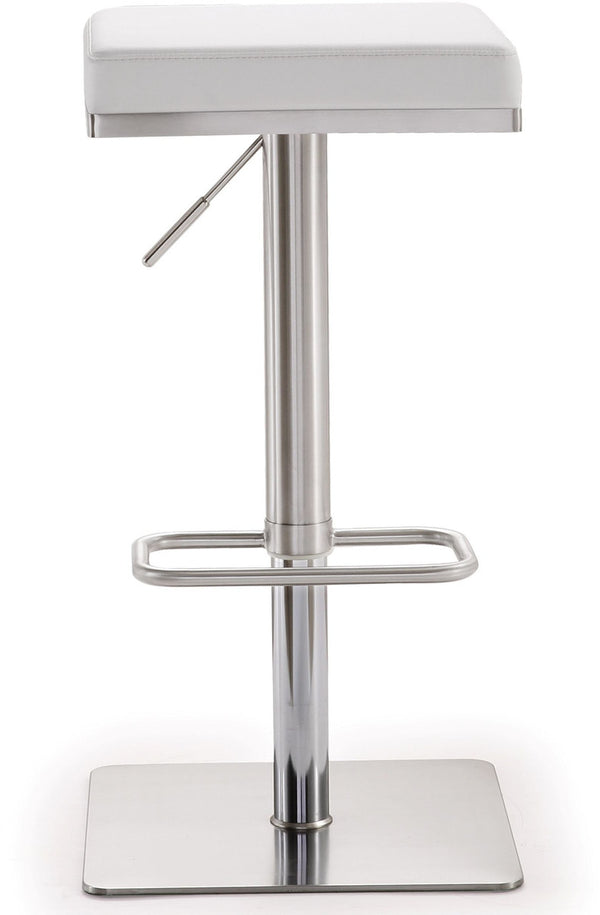 Bari White Stainless Steel Barstool
