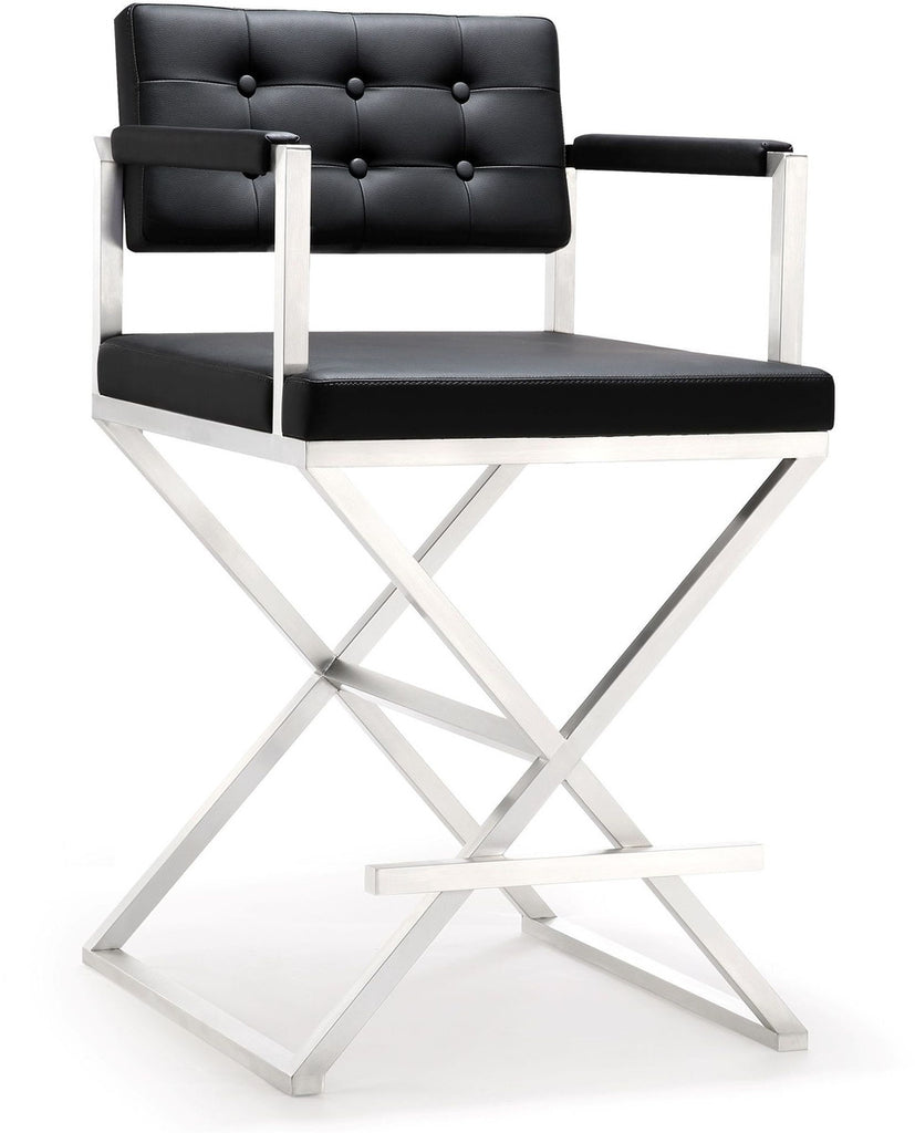 Director Black Steel Counter Stool
