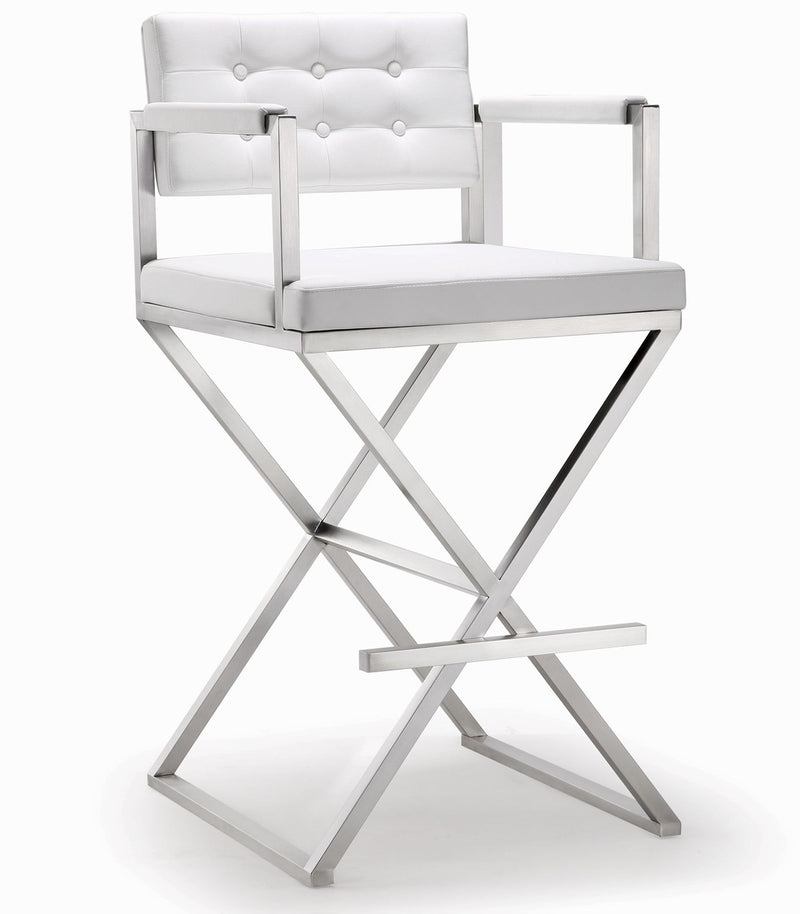 Director White Stainless Steel Barstool