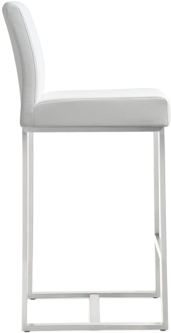 Denmark White Stainless Steel Counter Stool (Set of 2)