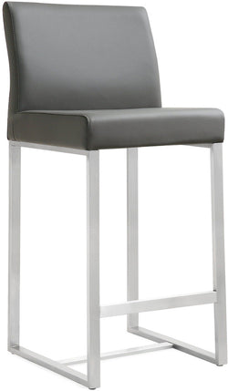 Denmark Grey Stainless Steel Counter Stool (Set of 2)