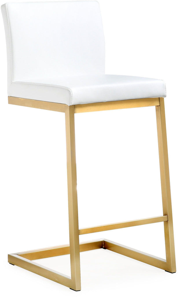 Parma White Gold Steel Counter Stool (Set of 2)