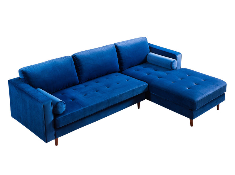 Como Navy Velvet Sectional RAF Sofa
