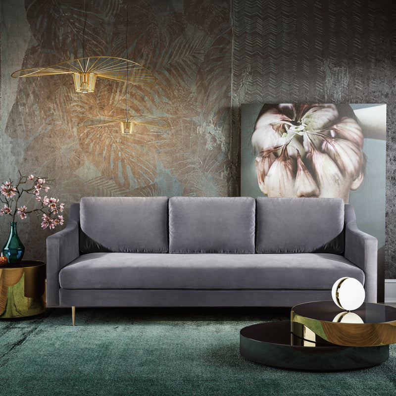 Milan Grey Velvet Sofa