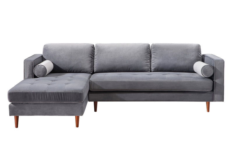 Como Grey Velvet Sectional LAF Sofa