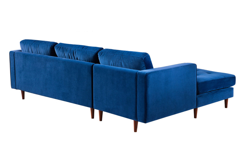Como Navy Velvet Sectional LAF Sofa