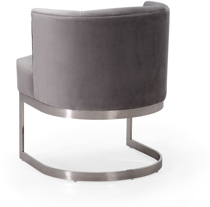 Eva Grey Velvet Accent Chair