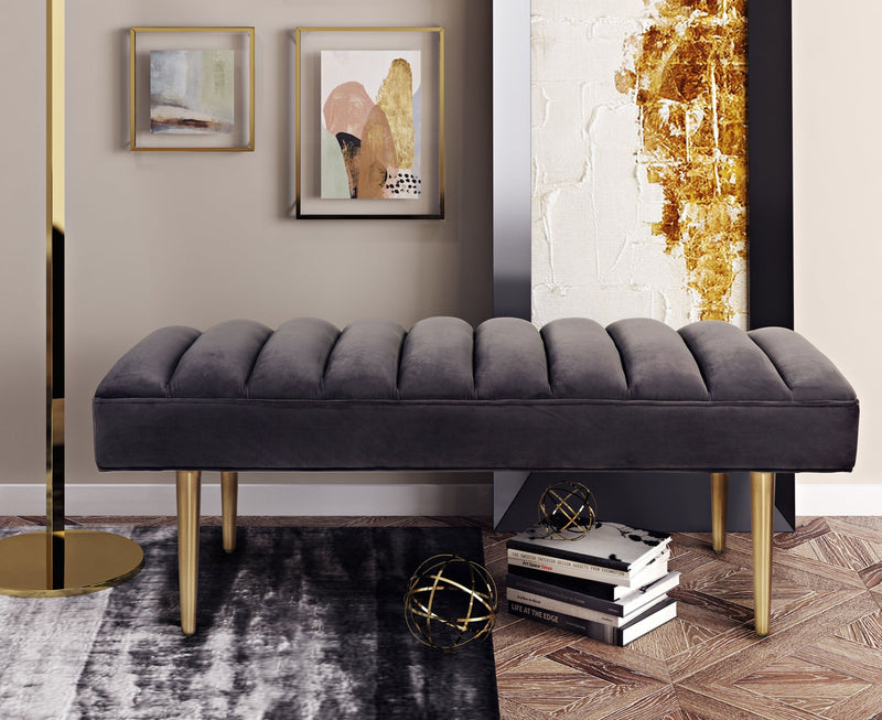 Jax Grey Velvet Bench