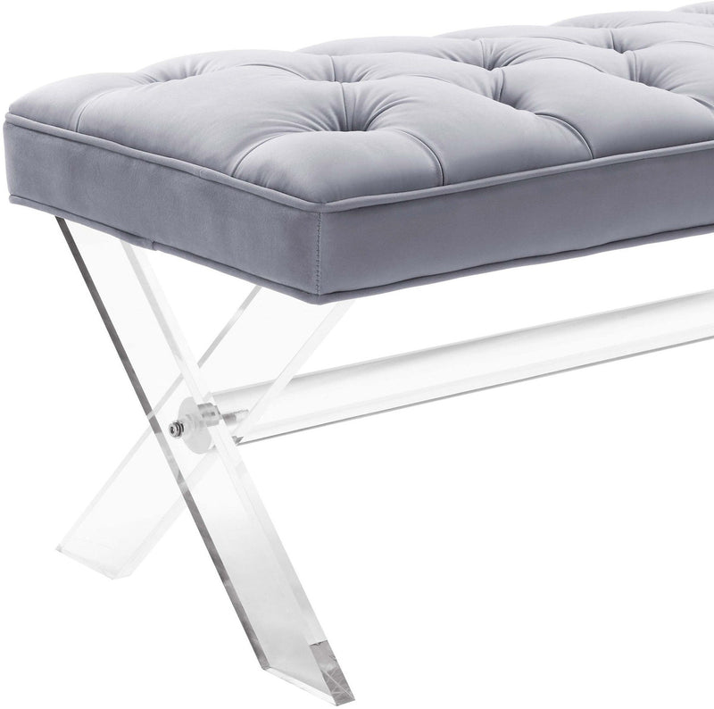 Claira Grey Lucite Bench