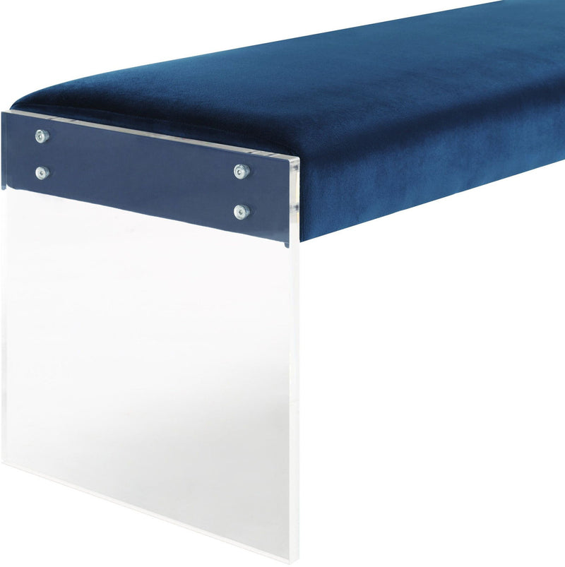 Envy Blue Velvet/Acrylic Bench