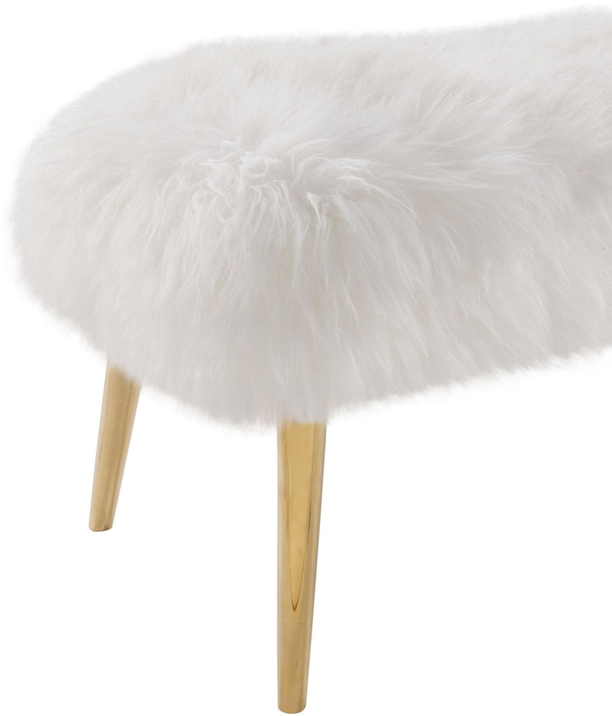 Churra White Sheepskin Bench with Gold Legs