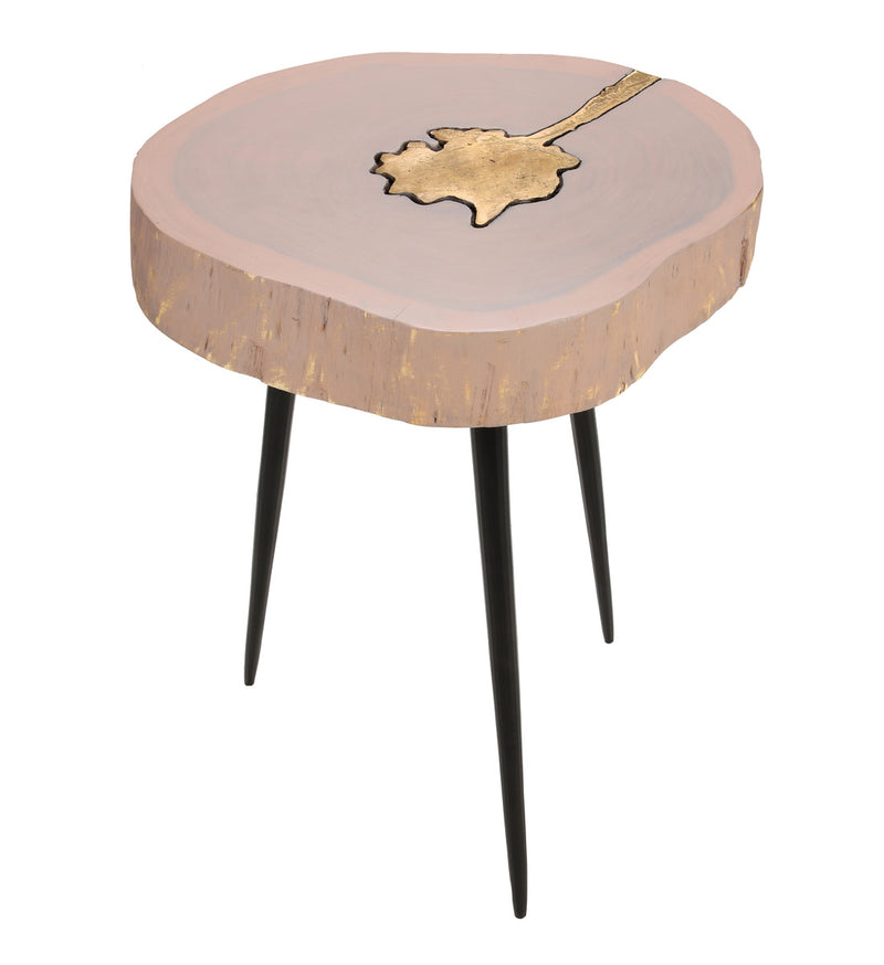 Timber Pink and Brass Side Table