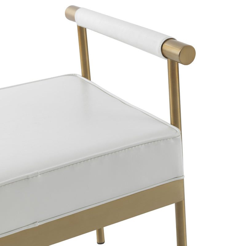 Diva White Vegan Leather Bench