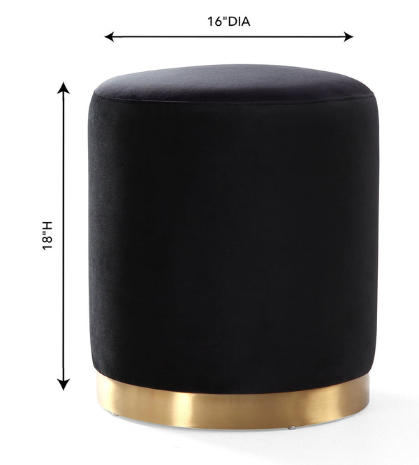 Opal Black Velvet Ottoman -Gold Base