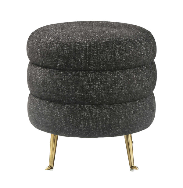 Ladder Black Tweed Ottoman