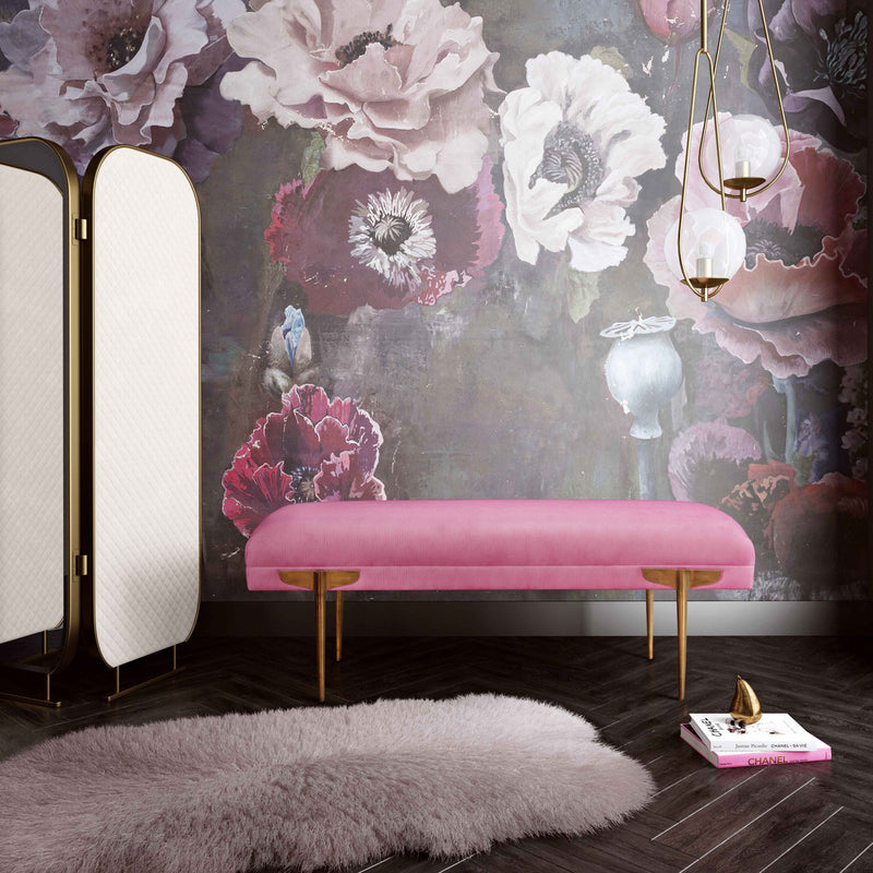 Brno Rose Waived Velvet Bench