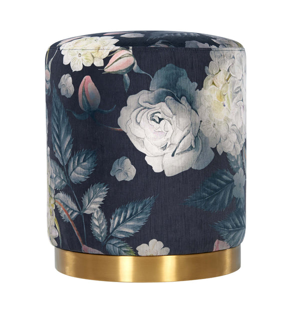 Opal Floral Velvet Ottoman with Gold Base