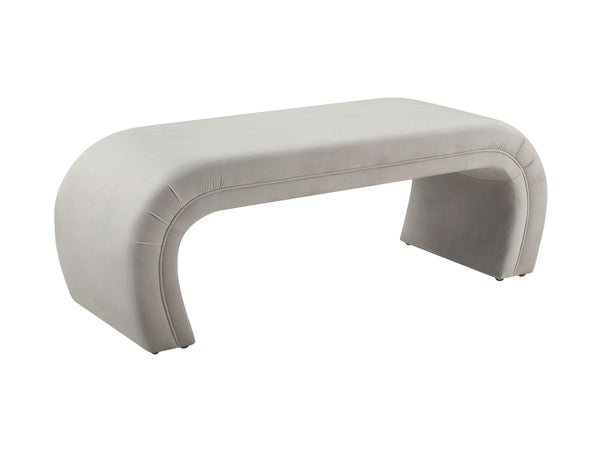 Kenya Light Grey Velvet Bench