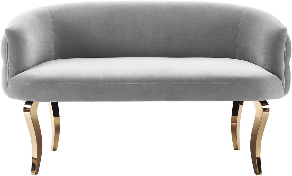 Adina Grey Velvet Loveseat with Gold Legs