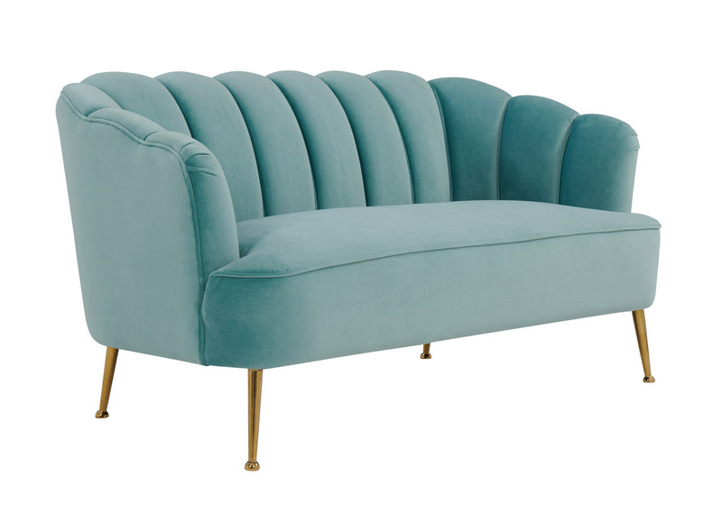 Daisy Petitie Sea Blue Velvet Settee Loveseat
