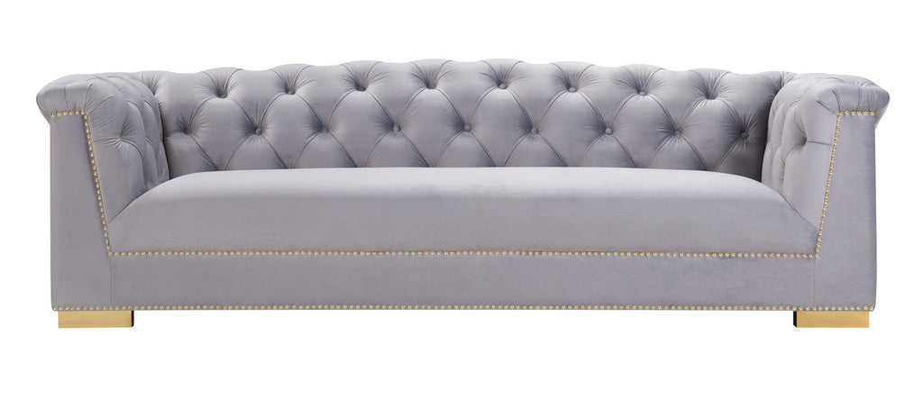 Farah Grey Velvet Sofa