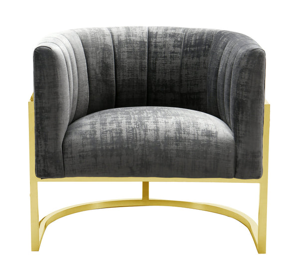 Magnolia Grey Accent Chair with Gold