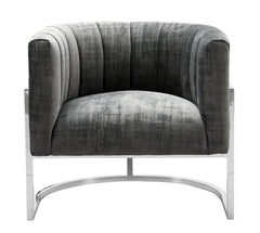 Magnolia Grey Accent Chair with Silver