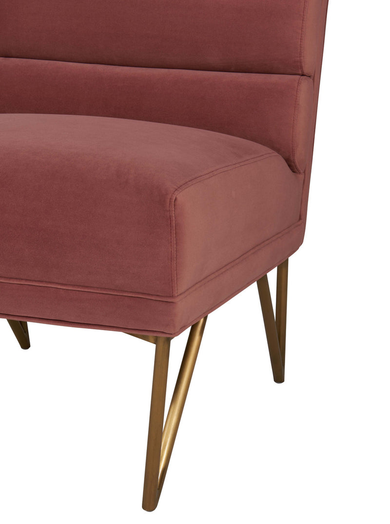 Kelly Slub Salmon Velvet Accent Chair