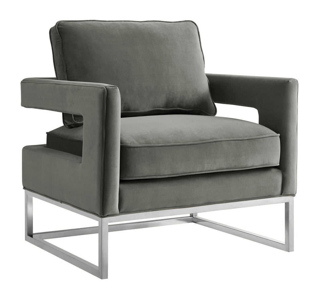 Avery Grey Velvet Accent Chair