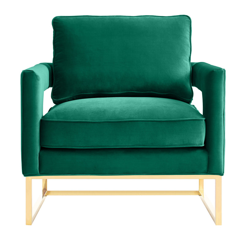 Avery Forest Green Velvet Accent Chair with brushed gold base