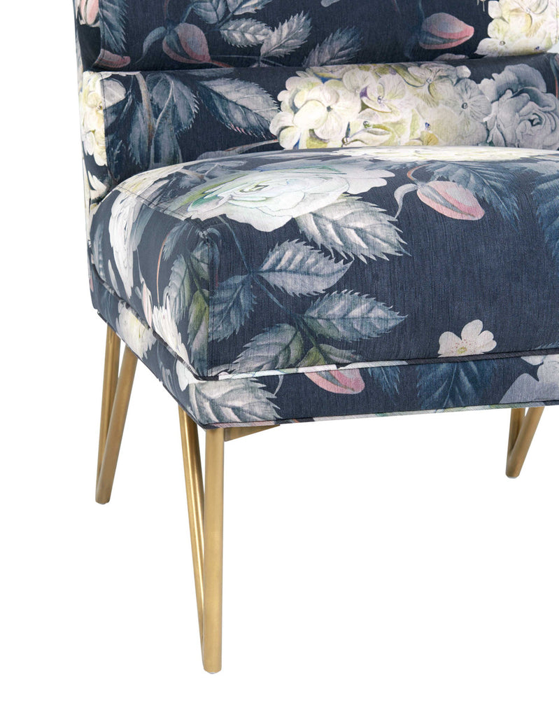 Kelly Floral Velvet Accent Chair