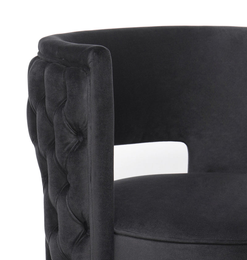 Mimosa Black Velvet Swivel Accent Chair