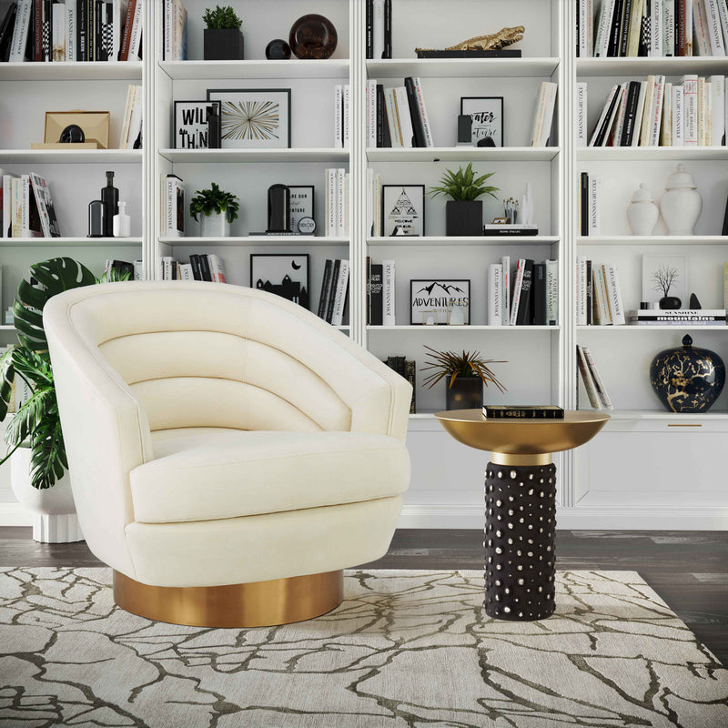 Canyon Cream Velvet Swivel Accent Chair
